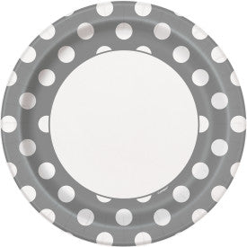 Silver Dots Round - Dinner Plates
