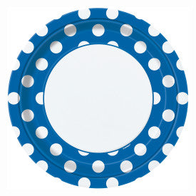 Royal Blue Dots Round - Dinner Plates