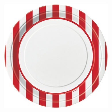 Ruby Red Stripes Round - Dinner Plates