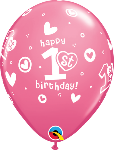 1st Birthday Circle Hearts - Girl