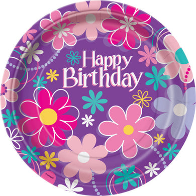 Birthday Blossoms Round - Dinner Plates
