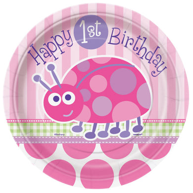 First Birthday Ladybug Round - Dessert Plates