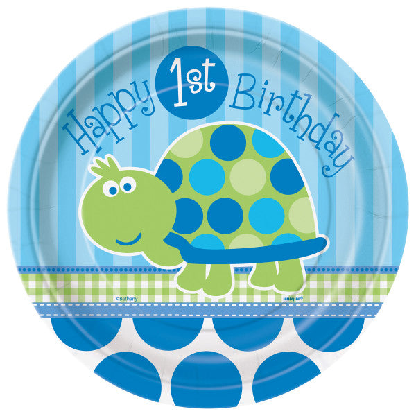 First Birthday Turtle Round - Dessert Plates