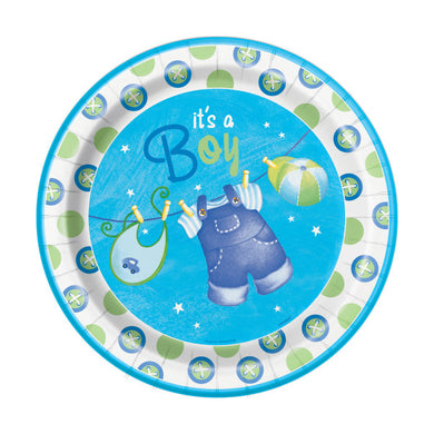 Blue Clothesline Baby Shower Round - Dinner Plates