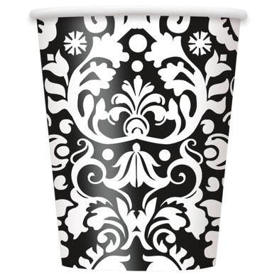 Black Damask Paper Cups