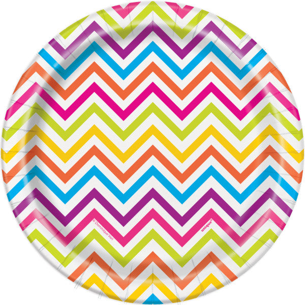 Rainbow Chevron Round - Dinner Plates