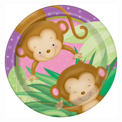 Girl Monkey Baby Shower Round - Dinner Plates