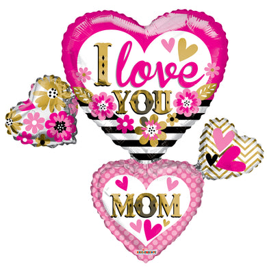 I Love You Mom Many Hearts Shape