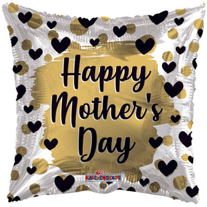 Happy Mother's Day Gold & Black Hearts