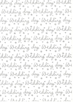 Glitter Wedding Script Silver On White