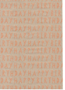 Kraft Cut Out Happy Birthday Orange