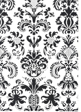 Damask Black Over White Print