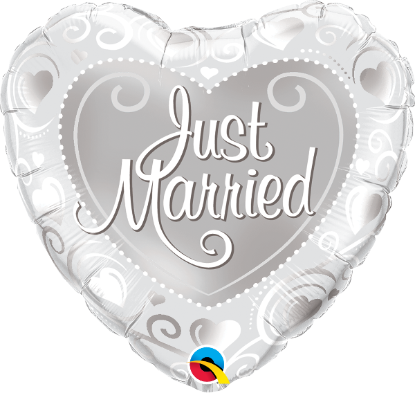 Just Married Hearts Silver