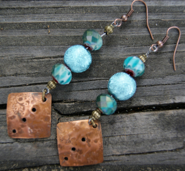 Copper and Denim Crystal Earrings