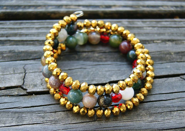 Gemstone and Metallic Crystal Memory Wire Bracelet