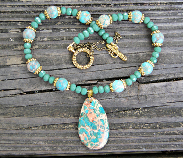 Green Aqua Terra Jasper Necklace