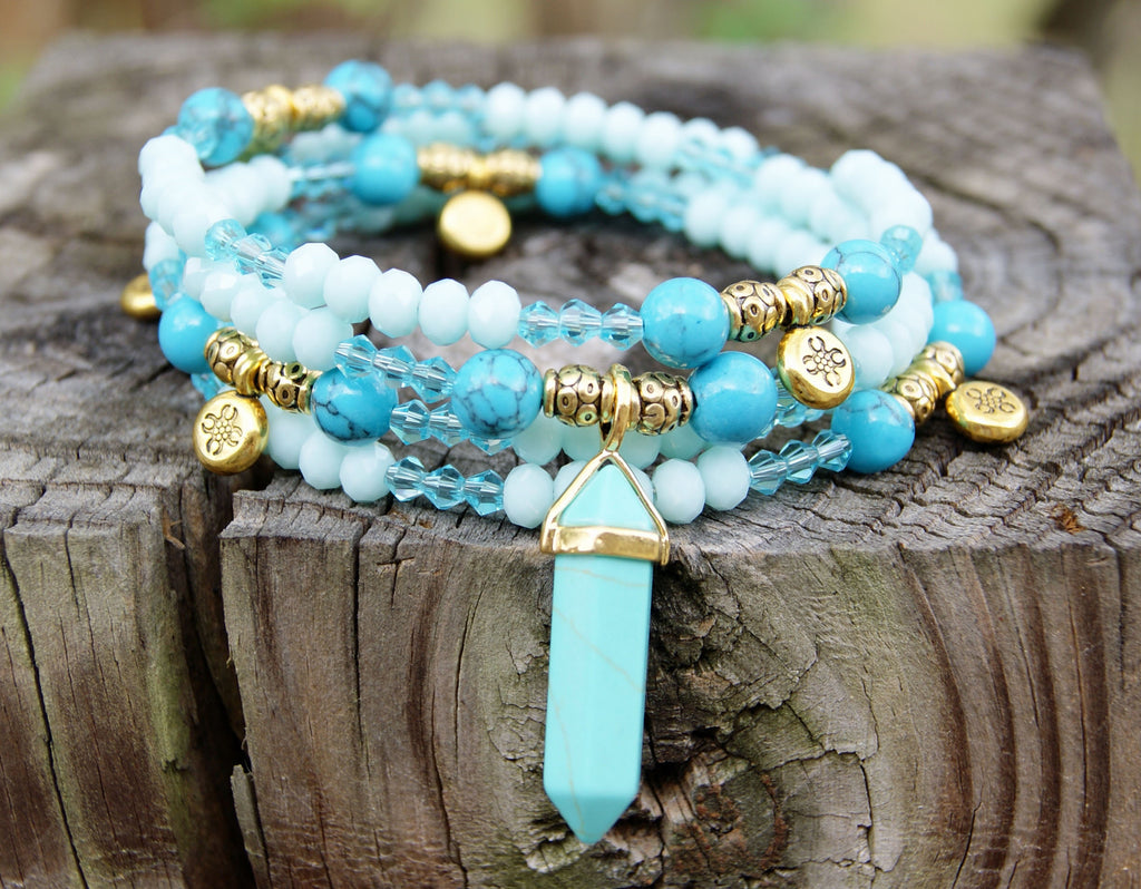 Aegean Blue Memory Wire Bracelet – Forest of Jewels