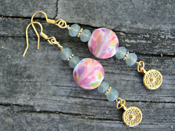 Tea Time Lampwork Glass and Crystal Earrings