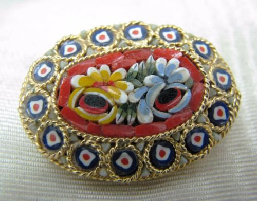 Beautiful Vintage Micro Mosaic Oval Brooch in Dark Blue and Red