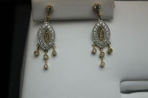 14K Yellow & White Gold - 1/2 ct Diamond - Dangle Earrings