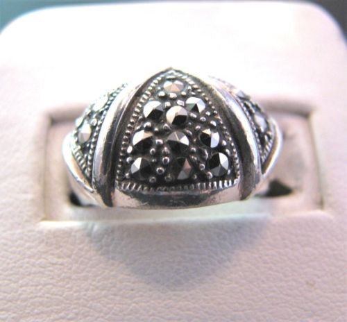 Stunning Sterling Silver Wide Band Ring with Marcasites