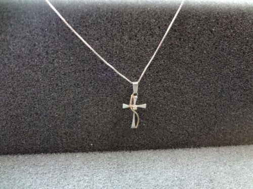 Beautiful Sterling Silver Cross Necklace with a Ribbon of Gold