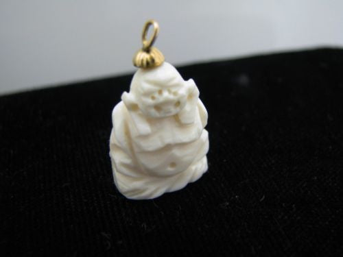 Beautiful Vintage Carved Bone Buddha Pendant with 14k Yellow Gold Bail