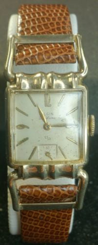 1950s 10k Gold Filled Elgin Driver's Watch with Genuine Lizard Band