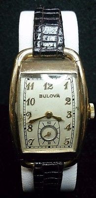 1940s 10k Gold Filled Bulova Watch with Genuine Leather Band