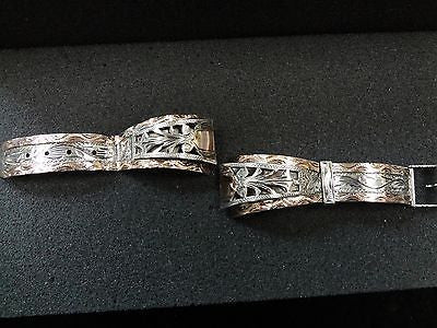 Handsome Vintage Sterling Silver and 10k Men's Watch Band