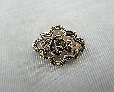Lovely Vintage Small 9k Yellow Gold Brooch with Rose Design