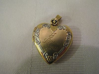 Beautiful Heart Shaped 14k Yellow Gold Locket with I Love You on Front