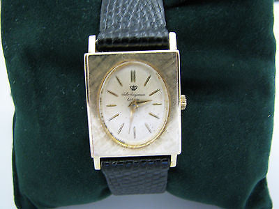 Vintage 14k Yellow Gold Jules Jurgenson Watch with Leather Strap