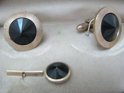 Vintage Gold Tone with Faceted Peaked Black Stones, Tie Tack and Cuff Link Set