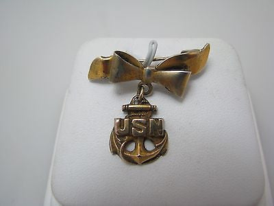 Sterling Sweetheart Pin with a Gold Wash from WW II USN
