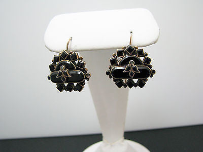 Beautiful Vintage 14k Yellow Gold Black Onyx Drop Earrings From 1930's