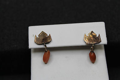 Lovely Vintage / Antique Gold Filled Salmon Coral Drop Earrings