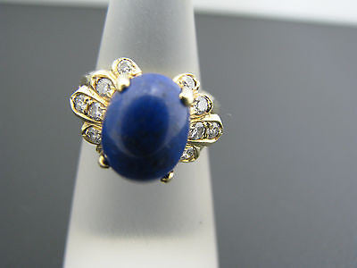 Beautiful Blue Lapis and Diamond Ring in 14k Yellow Gold