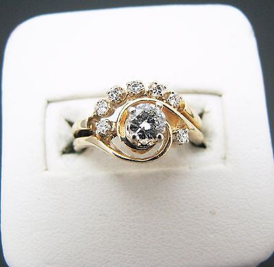 Beautiful 14k Yellow Gold Engagement Ring with Wedding Band set w/ .50 Carats