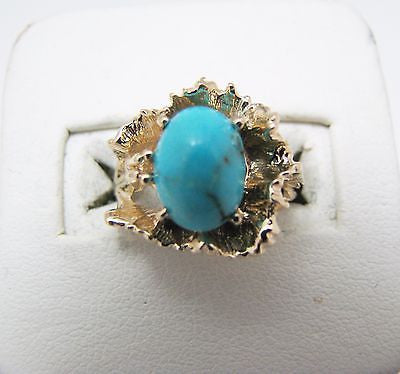 14k Yellow Gold Oval Turquoise Flower Ring