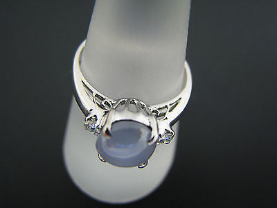 Pretty Light Blue Lindy Star Sapphire Ring with (2) Diamonds in 10k White Gold