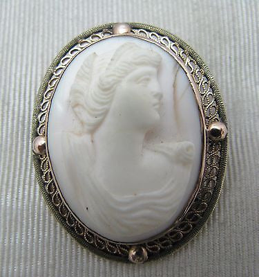 Vintage Carved White Cameo Brooch/ Pendant in 10k Yellow Gold
