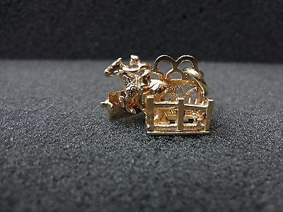 14k Yellow Gold Moveable Race Horse in Starting Gate Charm or Pendant