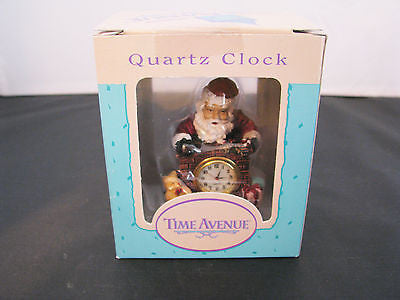 Cute Santa Claus, Teddy, Presents & Fireplace Miniature Clock in Resin