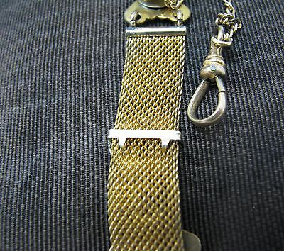 Vintage Pocket Watch Chain and Small Mesh Fob with Heart Charm