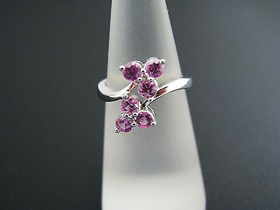 Lovely 10k White Gold Ring with (6) Pink Stones