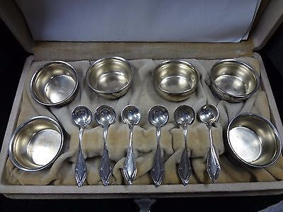 Vintage Sterling Silver Mfg Co Set of 6 Salt Cellars with Spoons in Box