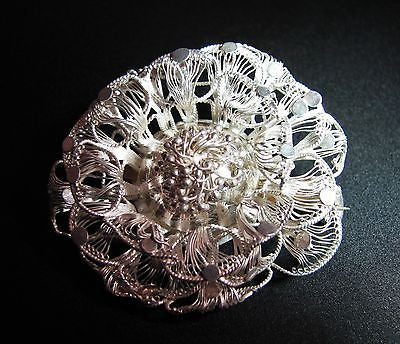 Beautiful Vintage Sterling Silver Wire Flower Brooch