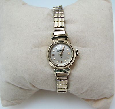 Ladies Certina Watch - Case is 14 karat Yellow Gold - Stretch Band