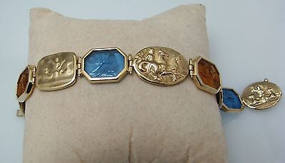 Beautiful 14k Yellow Gold Repousse Bracelet with Blue & Yellow Topaz